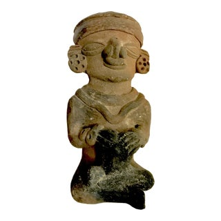 Pre-Columbian Mayan or Aztec Seated Terracotta Figurine