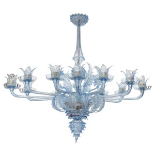 Blue Murano Glass Venetian Chandelier by Barovier & Toso Italy