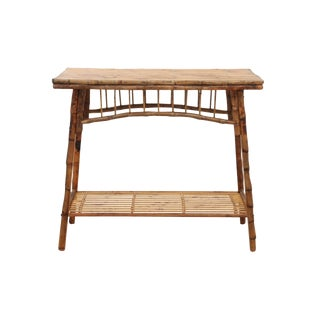 Carved English Style Bamboo Hall Table