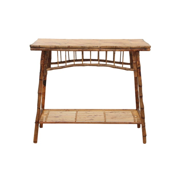 Carved English Style Bamboo Hall Table - Image 1 of 6
