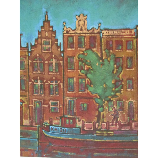 Image of Painting Of Amsterdam Canal And Townhouses