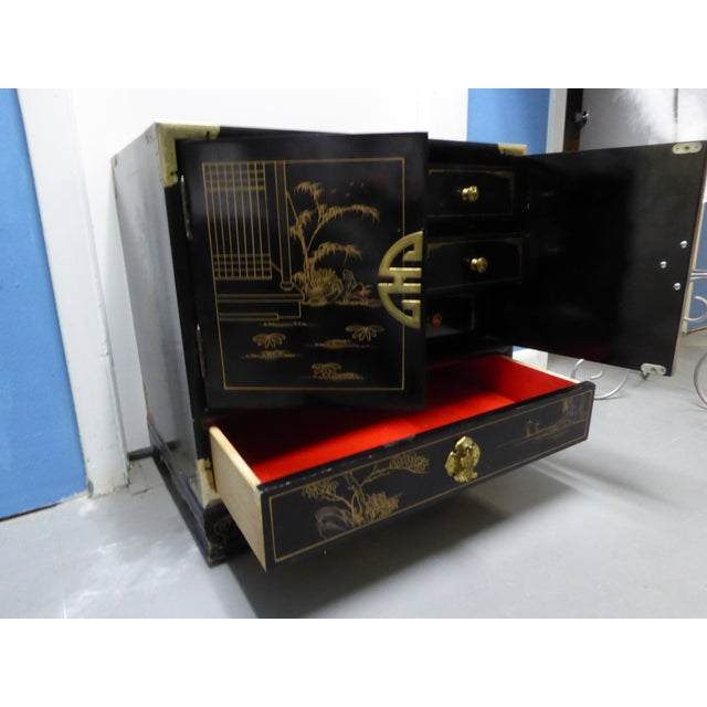 Image of Vintage Asian Black Lacquer Jewerly Cabinet
