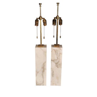 T.H. Robsjohn-Gibbings Square Marble Table Lamps - a Pair