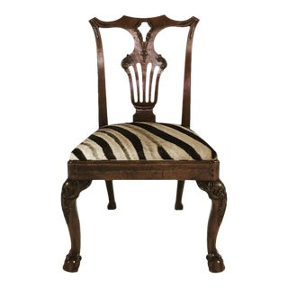 George II Walnut Dining Chairs in South African Zebra Hide - Set of 8