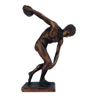 c.1970s Plaster & Gilt Grecian Olympic Discus Athlete