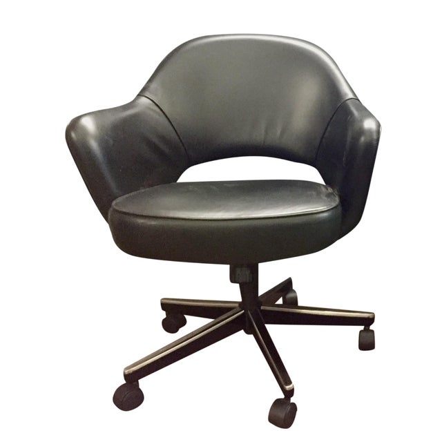 Eero Saarinen Knoll Blk Leather Chair -5 Available - Image 1 of 7