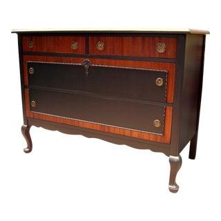 Vintage Mahogany and Black Lowboy Dresser