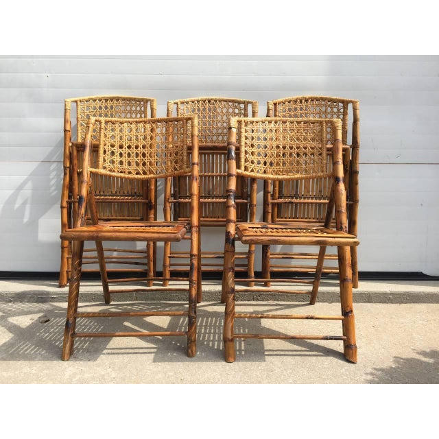Scorched Bamboo Frame Folding Chairs - Set of Five - Image 2 of 9