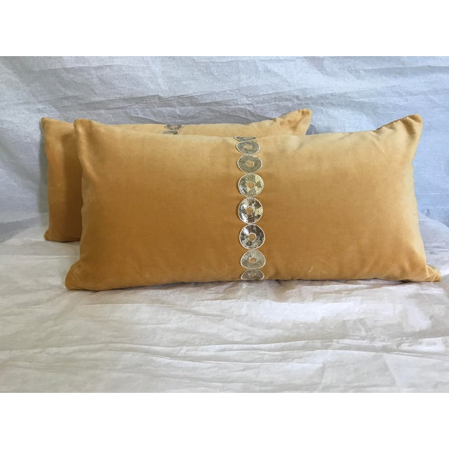 Gold Velvet & Down Feather Lumbar Pillows - a Pair - Image 3 of 3