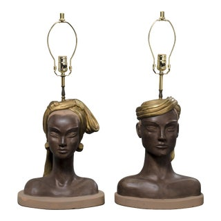 Reglor of California Egyptian Queen & King Bust Table Lamps - A Pair