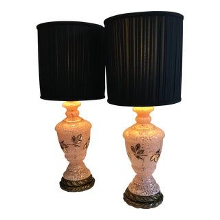 Pink Blown Glass Lamps - A Pair