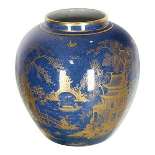 Carlston Ware Globe Shape Cobalt Blue & Gold Vase