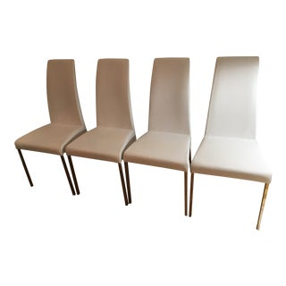 Bontempi Casa Aida White Leather Side Chairs - Set of 4