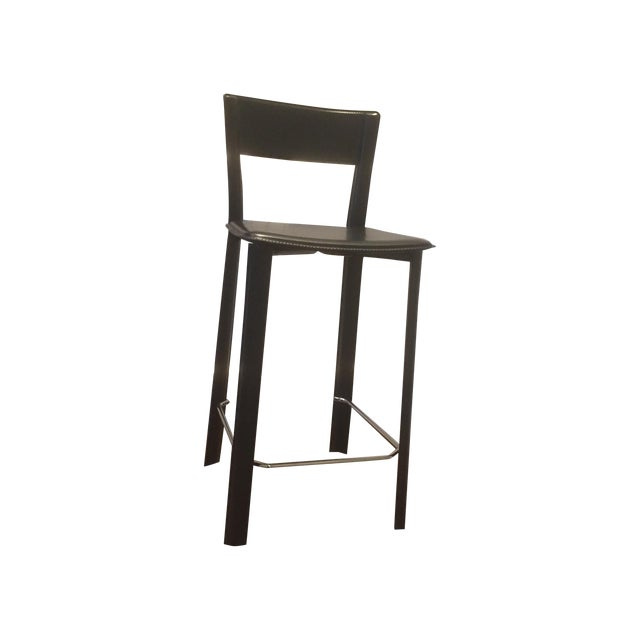 Leather Bar Stools - A Pair - Image 1 of 4
