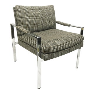Milo Baughman for Thayer Coggin Flat Bar Chrome Lounge Chair