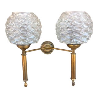 Candelabra Wall Sconce With Double Glass Globes
