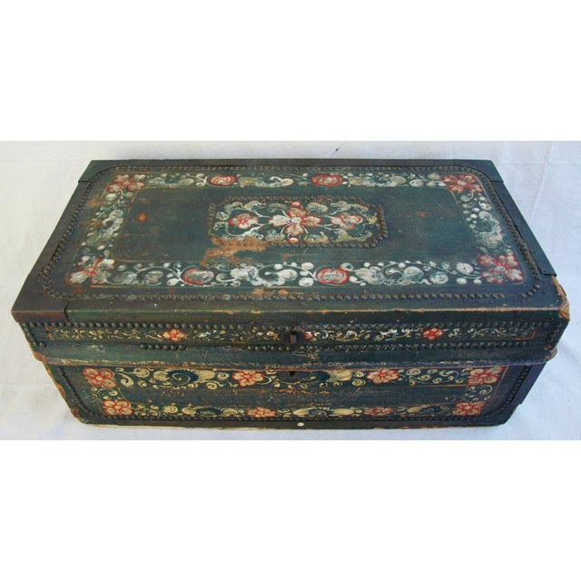 French 19th C. Hand Painted Leather Trunk - Image 5 of 10