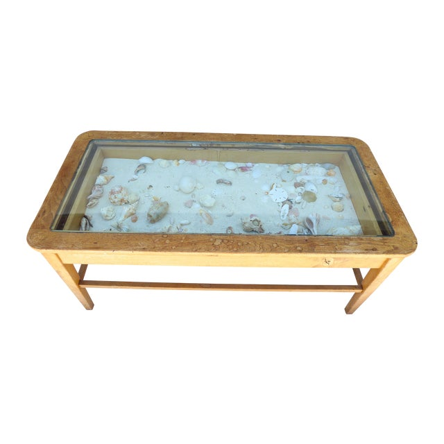 Beach Coffee Table With Glass Top And Shells Chairish
