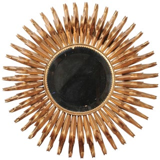 Spanish Gilt Metal Sunburst Mirror from Mid-20th Century