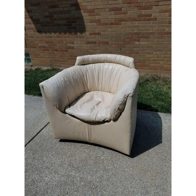 John Saladino for Baker Leather Swivel Lounge Chair - Image 9 of 11