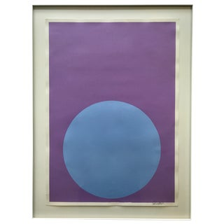 Soft Blue Dot on French Lavender Painting