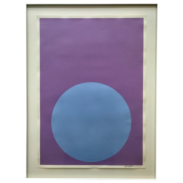 Soft Blue Dot on French Lavender Painting - Image 1 of 4