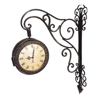 Vintage Metal Quartz Train Station Clock