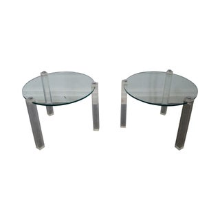 Mid-Century 3 Legged Lucite Tables with Round Glass - A Pair
