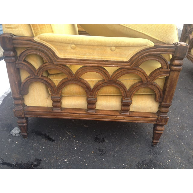Mid-Century Thomasville Velour Club Chairs - Pair - Image 7 of 8