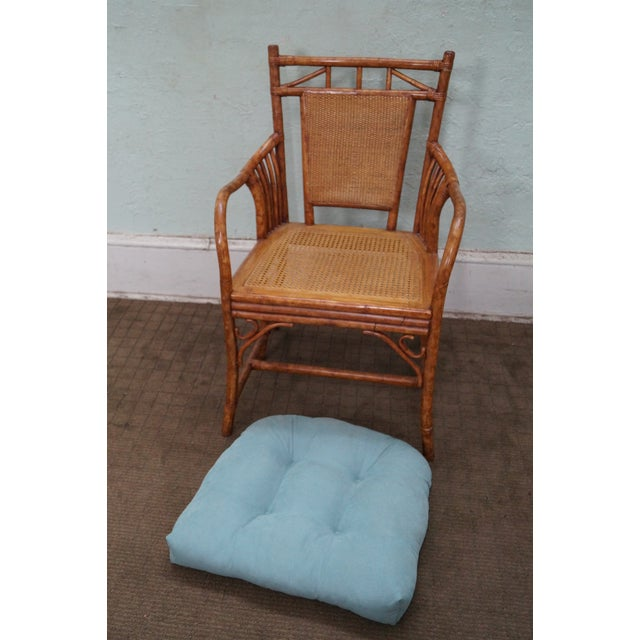 Image of Rattan Bamboo Arm Chairs - A Pair