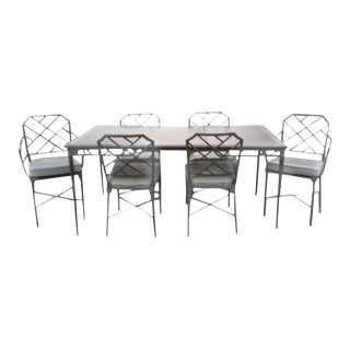 Brown Jordan Seven-Piece Calcutta Chairs and Table Faux Bamboo Patio Dining Set
