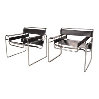 "Set of Two ""Wassily"" Chairs by Marcel Breuer for Gavina, Italy, circa 1960"