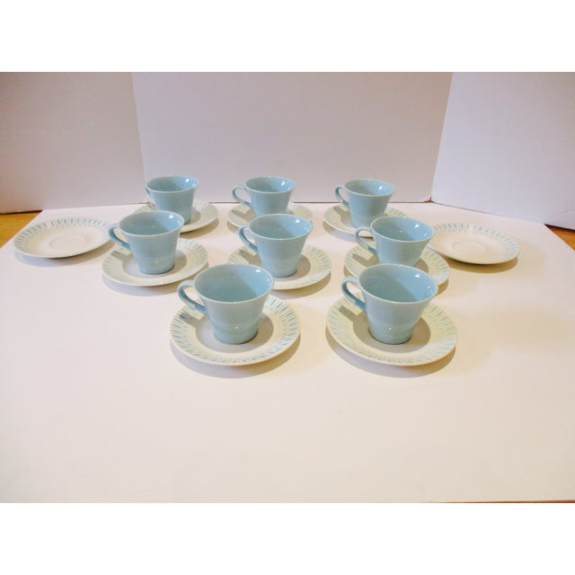Image of Midcentury Atomic Starburst Cups & Saucers - 18 Pc
