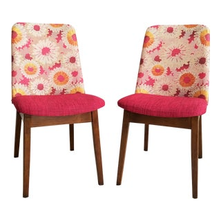 Mid-Century Floral Accent Chairs - A Pair
