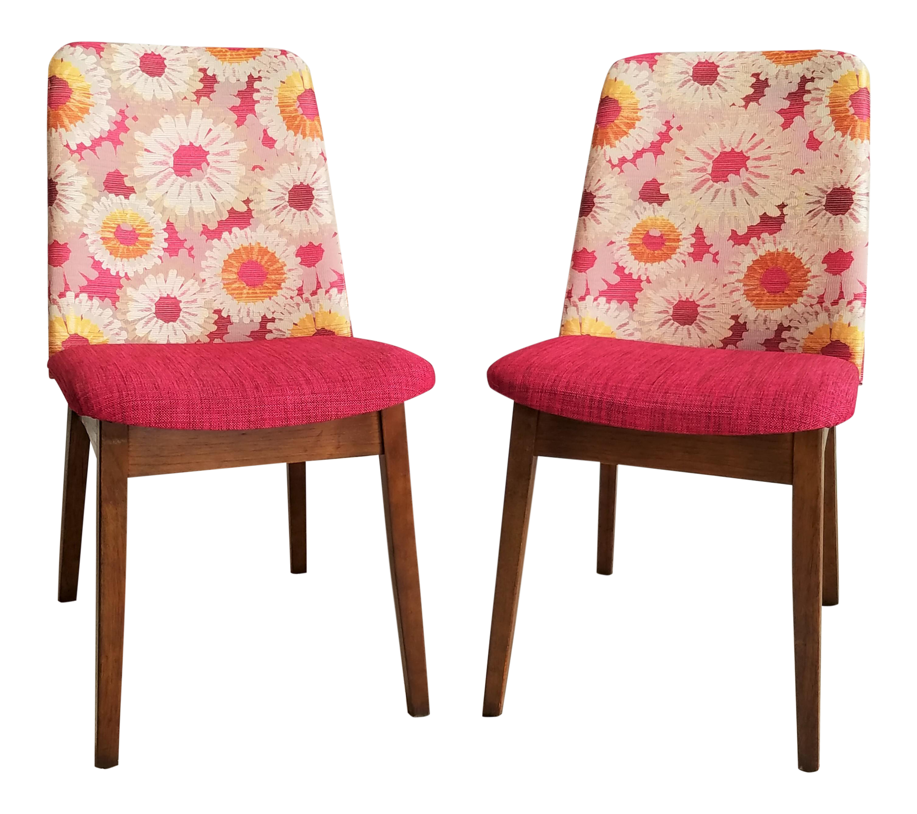 Mid Century Floral Accent Chairs   A Pair