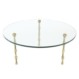 1950S PEPE MENDOZA GLASS COCKTAIL TABLE ON FAUX-BAMBOO BRONZE LEGS