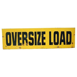 Large Mid-Century Wooden Oversize Load Sign