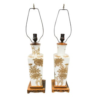 Oriental Gold and White Vintage Lamps - a Pair