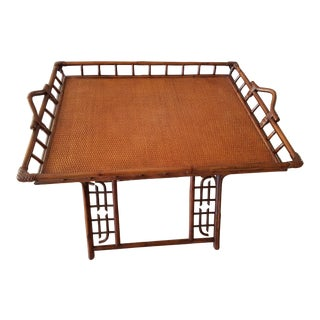 Indonesian Rattan Folding Tray Table