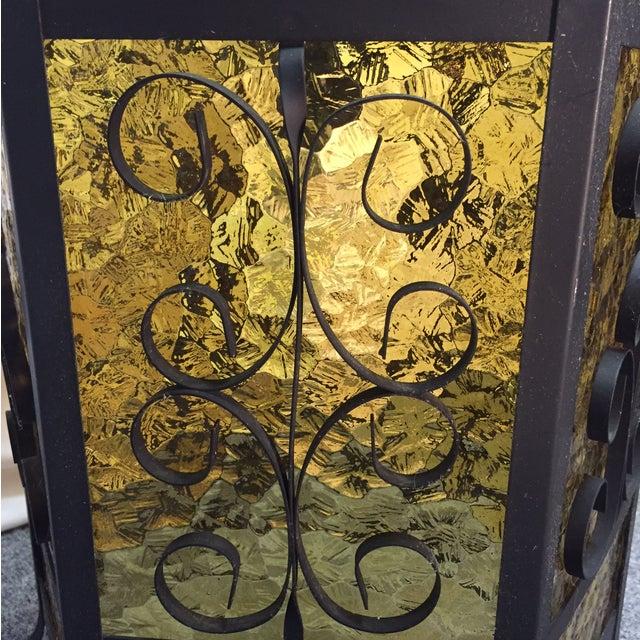Gothic Spanish Revival Iron Slag Glass Light - Image 5 of 6