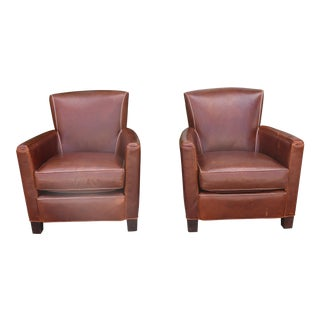 Crate and Barrel Leather Chairs - a Pair