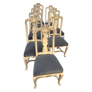 Vintage Hand-Painted Dining Chairs - Set of 8