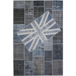 """Aara Rugs Inc. Hand Knotted Patchwork Flag Rug - 9'10"""" X 6'7"""""""