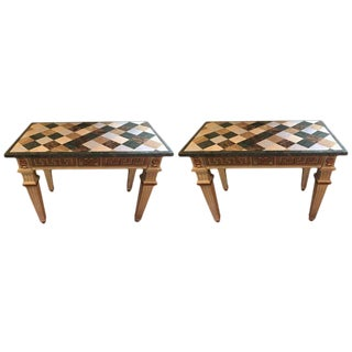 Pair Of Parcel Gilt And Paint Decorated Checkerboard Marble Top Consoles