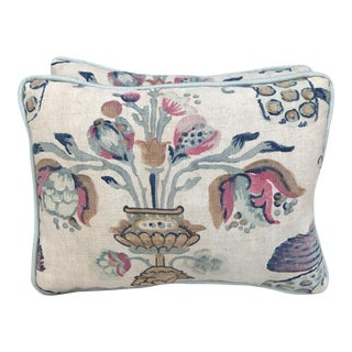 Pillows With Floral Urn Pattern - A Pair