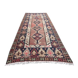 Vintage Turkish Kilim Rug - 4′11″ × 12′