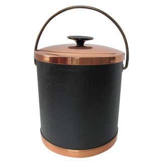 Copper & Faux Black Leather Ice Bucket & Tongs