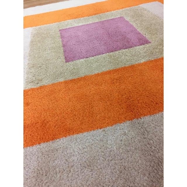 Vintage Belgian Geometric Pop Art Orange Elementa 80 Wool Rug - 6′6″ × 9′10″ - Image 7 of 8