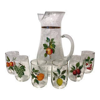 West Virginia Fruit Motif Glasses - Set of 7