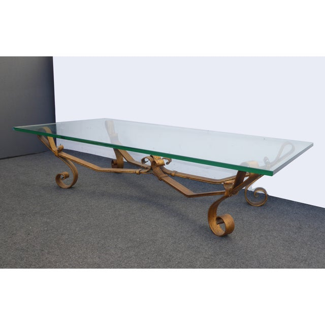 Spanish Gold Iron Glass Top Coffee Table Chairish